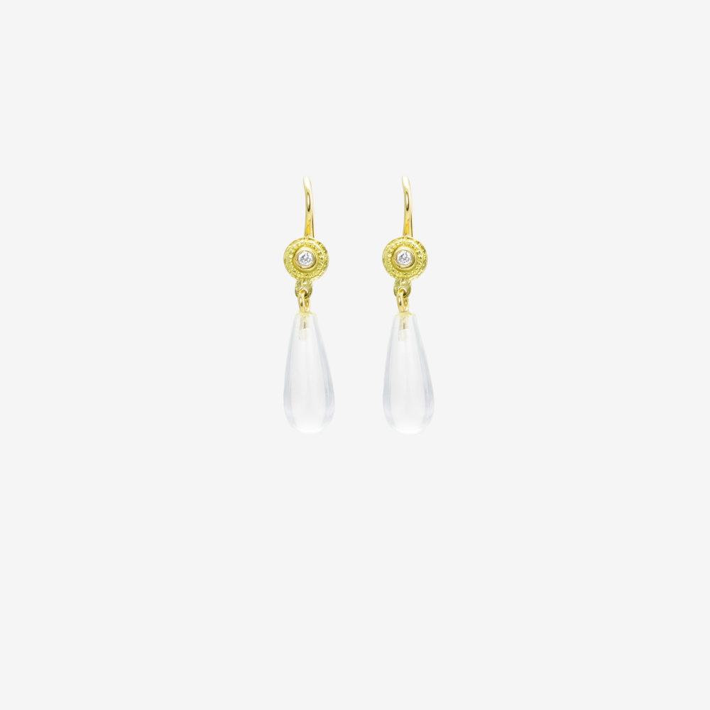 Crystal Forum Drop Earrings in 18k Gold with Diamonds